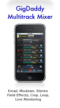 GigDaddy Multitrack Mixer. Email, Mixdown, Stereo Field Effect, Crop Loop, Live Monitoring